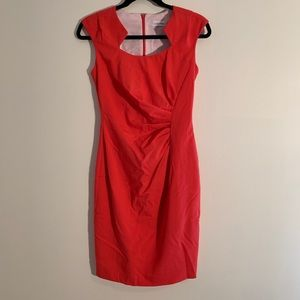 Calvin Klein Coral Ruch Sheath Dress, Size 2 NWOT
